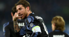Real Madrid's defender Sergio Ramos celebrates after scoring during the UEFA Champions League football match SSC Napoli vs Real Madrid on March 7, 2017 at the San Paolo stadium in Naples. / AFP PHOTO / Filippo MONTEFORTE        (Photo credit should read FILIPPO MONTEFORTE/AFP/Getty Images)