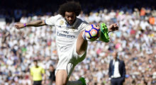 Real Madrid's Brazilian defender Marcelo kicks the ball during the Spanish league football match Real Madrid CF vs Club Atletico de Madrid at the Santiago Bernabeu stadium in Madrid on April, 8, 2017. / AFP PHOTO / PIERRE-PHILIPPE MARCOU        (Photo credit should read PIERRE-PHILIPPE MARCOU/AFP/Getty Images)