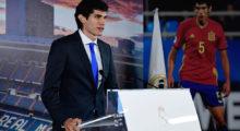 Real Madrid's new player Jesus Vallejo speaks during his presentation at the Santiago Bernabeu stadium in Madrid, on July 7, 2017. / AFP PHOTO / JAVIER SORIANO        (Photo credit should read JAVIER SORIANO/AFP/Getty Images)