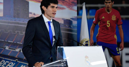 Real Madrid's new player Jesus Vallejo speaks during his presentation at the Santiago Bernabeu stadium in Madrid, on July 7, 2017. / AFP PHOTO / JAVIER SORIANO        (Photo credit should read JAVIER SORIANO/AFP/Getty Images)