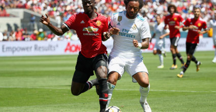 SANTA CLARA, CA - JULY 23:  Marcelo Da Silva Junior #12 of Real Madrid and Eric Bailly #3 of Manchester United go for the ball during the International Champions Cup match at Levi's Stadium on July 23, 2017 in Santa Clara, California.  (Photo by Ezra Shaw/Getty Images)