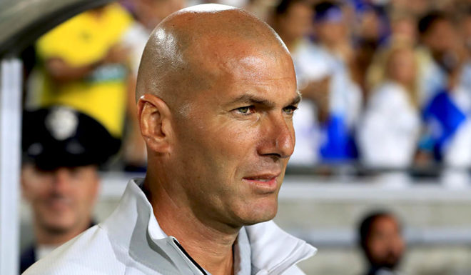 LOS ANGELES, CA - JULY 26:  Manager Zinedine Zidane of Real Madrid looks on prior to a match against Manchester City during the International Champions Cup soccer match at Los Angeles Memorial Coliseum on July 26, 2017 in Los Angeles, California.  (Photo by Sean M. Haffey/Getty Images)