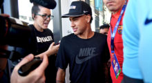 Barcelona's Brazilian forward Neymar takes part in a event organized by a sport shop in Miami, on July 28, 2017.  / AFP PHOTO / HECTOR RETAMAL        (Photo credit should read HECTOR RETAMAL/AFP/Getty Images)