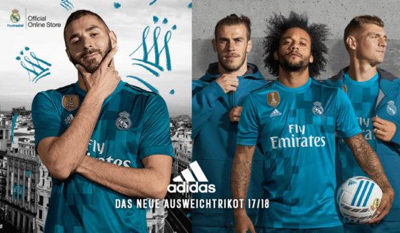real madrid adidas drittes trikot ausweich 2017-18