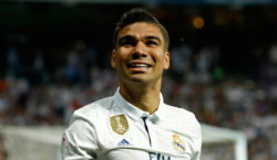 Real Madrid's Casemiro celebrates a goal during the Spanish league football match Real Madrid CF vs FC Barcelona at the Santiago Bernabeu stadium in Madrid on April 23, 2017. / AFP PHOTO / OSCAR DEL POZO        (Photo credit should read OSCAR DEL POZO/AFP/Getty Images)