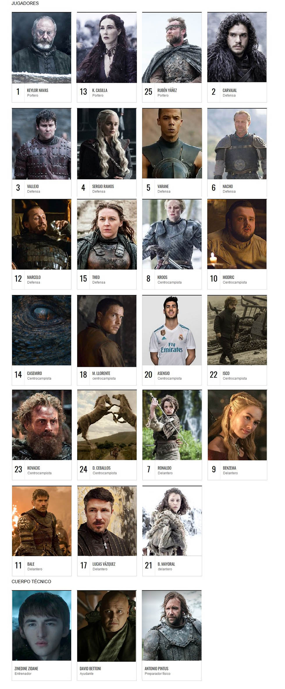 game of thrones real madrid