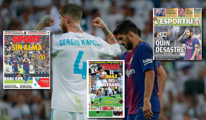 MADRID, SPAIN - AUGUST 16: Sergio Ramos (L) of Real Madrid CF celebrates ahead Luis Suarez (R) of FC Barcelona after winning the Supercopa de Espana Final 2nd Leg match between Real Madrid and FC Barcelona at Estadio Santiago Bernabeu on August 16, 2017 in Madrid, Spain. (Photo by Gonzalo Arroyo Moreno/Getty Images)
