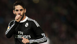 Real Madrid's forward Isco celebrates after scoring during the Spanish league football match UD Almeria vs Real Madrid CF on December 12, 2014 at Juegos Mediterraneos stadium in Almeria.   AFP PHOTO/ JORGE GUERRERO        (Photo credit should read Jorge Guerrero/AFP/Getty Images)