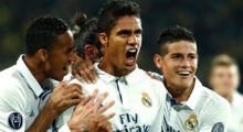 TOPSHOT - Real Madrid's French defender Raphael Varane (C) reacts after scoring during the UEFA Champions League first leg football match between Borussia Dortmund and Real Madrid at BVB stadium in Dortmund, on September 27, 2016. / AFP / Odd ANDERSEN        (Photo credit should read ODD ANDERSEN/AFP/Getty Images)