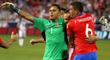 HARRISON, NJ - SEPTEMBER 01: Marco Urena #21 of Costa Rica celebrates scoring his team's second goal with teammates Keylor Navas #1 and Jose Salvatierra #6 in the second half against the United States during the FIFA 2018 World Cup Qualifier at Red Bull Arena on September 1, 2017 in Harrison, New Jersey.  (Photo by Mike Lawrie/Getty Images)