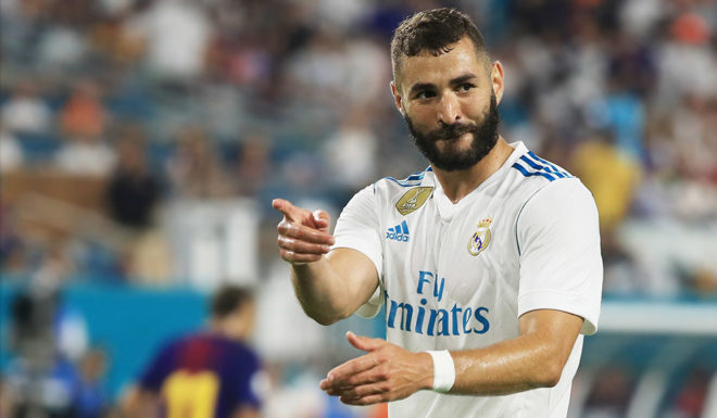 MIAMI GARDENS, FL - JULY 29: Karim Benzema #9 of Real Madrid reacts in the first half against Barcelona during their International Champions Cup 2017 match at Hard Rock Stadium on July 29, 2017 in Miami Gardens, Florida. (Photo by Mike Ehrmann/Getty Images)