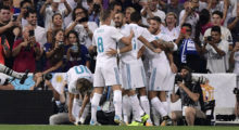 Real Madrid's players celebrate their opener during the second leg of the Spanish Supercup football match Real Madrid vs FC Barcelona at the Santiago Bernabeu stadium in Madrid, on August 16, 2017. / AFP PHOTO / JAVIER SORIANO        (Photo credit should read JAVIER SORIANO/AFP/Getty Images)