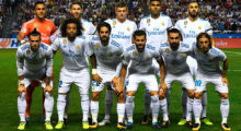 (From back left) Real Madrid's players: Costa Rican goalkeeper Keylor Navas, defender Sergio Ramos, German midfielder Toni Kroos, Brazilian midfielder Casemiro, French forward Karim Benzema, Welsh forward Gareth Bale, Brazilian defender Marcelo, midfielder Isco, defender Nacho Fernandez, defender Dani Carvajal and Croatian midfielder Luka Modric pose before the Spanish league footbal match RC Deportivo de la Coruna vs Real Madrid CF at the Municipal de Riazor stadium in La Coruna on August 20, 2017. / AFP PHOTO / MIGUEL RIOPA        (Photo credit should read MIGUEL RIOPA/AFP/Getty Images)