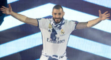 Real Madrid's French forward Karim Benzema acknowleges the crowd during a celebration event held at the Santiago Bernabeu stadium after the team won the the UEFA Champions League football match final Juventus vs Real Madrid CF held at the National Stadium of Wales in Cardiff on June 3, 2017. / AFP PHOTO / CURTO DE LA TORRE        (Photo credit should read CURTO DE LA TORRE/AFP/Getty Images)