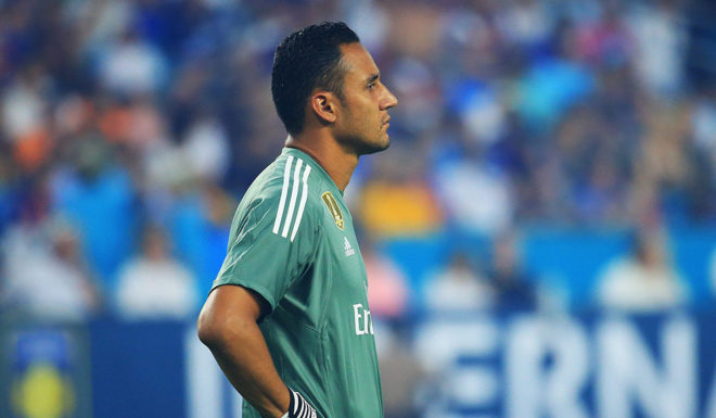 MIAMI GARDENS, FL - JULY 29: Keylor Navas #1 of Real Madrid looks on in the first half against the Barcelona during their International Champions Cup 2017 match at Hard Rock Stadium on July 29, 2017 in Miami Gardens, Florida. (Photo by Chris Trotman/Getty Images)