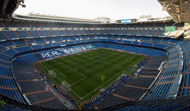 MADRID, SPAIN - SEPTEMBER 13: General view inside the stadium during the UEFA Champions League group H match between Real Madrid and APOEL Nikosia at Estadio Santiago Bernabeu on September 13, 2017 in Madrid, Spain. (Photo by Denis Doyle/Getty Images)