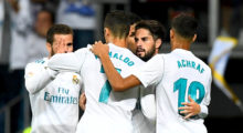 Real Madrid's midfielder Isco (2nd-R) is congratulated by teammates after scoring a goal during the Spanish league football match Real Madrid CF vs RCD Espanyol at the Santiago Bernabeu stadium in Madrid on October 1, 2017. / AFP PHOTO / GABRIEL BOUYS        (Photo credit should read GABRIEL BOUYS/AFP/Getty Images)