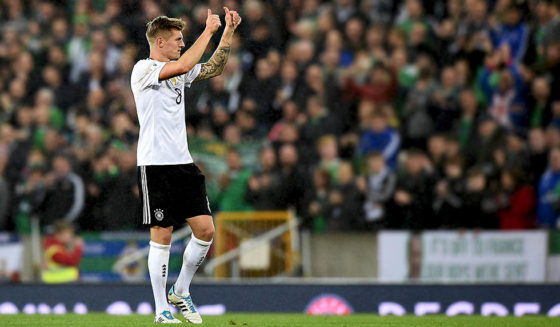 BELFAST, NORTHERN IRELAND - OCTOBER 05: Toni Kroos of Germany gives a thumbs up to the German fans after the FIFA 2018 World Cup Qualifier between Northern Ireland and Germany at Windsor Park on October 5, 2017 in Belfast, Northern Ireland. (Photo by Charles McQuillan/Getty Images)