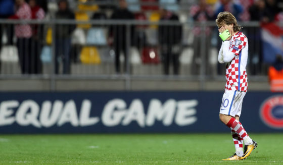 Croatia's midfielder Luka Modric reacts at the end of the FIFA World Cup 2018 qualification football match between Croatia and Finland in Rijeka on October 6, 2017. / AFP PHOTO / STRINGER (Photo credit should read STRINGER/AFP/Getty Images)