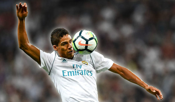 Real Madrid's French defender Raphael Varane controls the ball during the Spanish league football match Real Madrid CF vs RCD Espanyol at the Santiago Bernabeu stadium in Madrid on October 1, 2017. / AFP PHOTO / GABRIEL BOUYS        (Photo credit should read GABRIEL BOUYS/AFP/Getty Images)