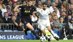 Tottenham Hotspur's Belgian defender Jan Vertonghen (L) vies with Real Madrid's Moroccan defender Achraf Hakimi during the UEFA Champions League group H football match Real Madrid CF vs Tottenham Hotspur FC at the Santiago Bernabeu stadium in Madrid on October 17, 2017. / AFP PHOTO / GABRIEL BOUYS        (Photo credit should read GABRIEL BOUYS/AFP/Getty Images)