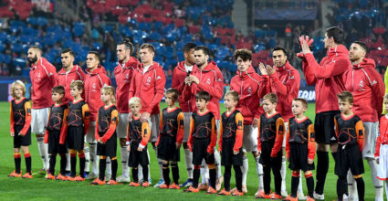 The Real Madrid players before UEFA Champions League group G football match Viktoria Plzen in Real Madrid in Plzen, Czech Republic on November 7, 2018. (Photo credit JOE KLAMAR / AFP) (Photo credit JOE KLAMAR / AFP / Getty Images)