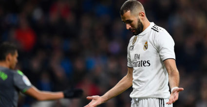 Real Madrid's French Carmim Benzema has been featured in Real Madrid CF Real Magazine CF Real Madrid CF Real Sociedad on January 6, 2019 at the Santiago Bernabe Stadium in Madrid. (Photo credit Gabriel Boise / AFP) (photo credit Gabriel Bowes / AFP reads) Getty Images)