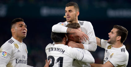 Real Madrid's Spanish midfielder Daniel Ceballos (C) after scoring a goal during the Spanish League football match between Real Betis and Real Madrid CF at the Benito Villamarin stadium in Seville on January 13, 2019. (Photo by CRISTINA QUICLER / AFP) (Photo credit should read CRISTINA QUICLER / AFP / Getty Images)