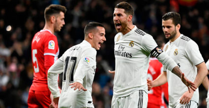 Real Madrid, Sergio Ramos (C), celebrates after scoring a penalty in the Spanish King's Cup (Real Madrid CF and Girona at the Santiago Bernabeu stadium in Madrid on January 24, 2019). (Photo by JAVIER SORIANO / AFP) (Photograph credits should read JAVIER SORIANO / AFP / Getty Images)