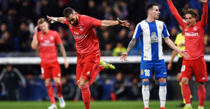 BARCELONA, SPAIN - JANUARY 27: Karim Benzema of Real Madrid celebrates after scoring his team's third goal during the La Liga match between RCD Espanyol and Real Madrid CF at RCDE Stadium on January 27, 2019 in Barcelona, Spain. (Photo by Alex Caparros / Getty Images)