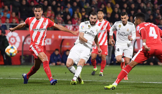 GIRONA, SPAIN - January 31: Karim Benzema, from Real Madrid, wins the 1-0 score in the final encounter of the Cup of the Quarter between Real Madrid and Girona on January 31, 2019 in Girona. (Photo by David Ramos / Getty Images)