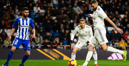 Karim Benzema (R) in the Real Madrid football game scored the opening goal during the Real Madrid CF football match against the Deportivo Alaves Club at the Santiago Bernabeu stadium in Madrid on February 3, 2019. (Photo by GABRIEL BOUYS / AFP) (Photo Credit should read GABRIEL BOUYS / AFP / Getty Images)