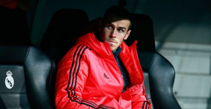 MADRID, SPAIN - DECEMBER 12: Gareth Bale of Real Madrid looks out from the bench to the harmony of Group G of the UEFA Champions League between Real Madrid and CSKA Moscow in Bernabeu on December 12, 2018 in Madrid, Spain. (Photo by Gonzalo Arroyo Moreno / Getty Images)