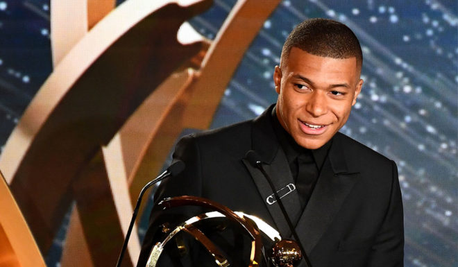Kylian Mbappe advances France Saint-Germain French Championships In the 28th edition of the UNFP Trophy Event of the French Football Federation (UEFA), on May 19, 2019, 1 Player Award. (Photo courtesy: FRANCK FIFE / AFP) (photo credits should read FRANCK FIFE / AFP / Getty Images)