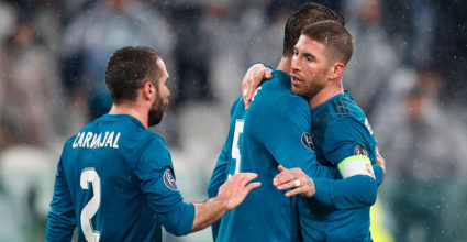 To the left: Spanish Real Madrid defender Dani Carvajal, French defender Real Madrid Raphael Varane, Spanish Real Madrid striker Sergio Ramos and Brazilian defender Real Madrid Marcelo celebrates at the end of the quarter-finals of UEFA Champions League Juventus and Real Madrid at Allianz in Torino on April 3 2018th year.