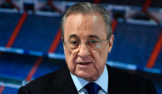 Real Madrid president Florentino Perez gave a presentation on Tuesday, July 19, 2019, at Santiago Bernabeu Stadium in Madrid, ahead of a presentation by the new Radio French defender. (Photo credit by Osro Del Pozzo / AFP) (Photo credit read USRD Pozzo / AF / Getty Images)