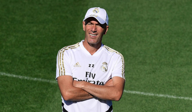 Real Madrid's French coach Zinedine Zidane takes part in a training session at Real Madrid's sports city in Madrid on August 16, 2019. (Photo by JAVIER SORIANO / AFP) (Photo credit should read JAVIER SORIANO / AFP / Getty Images)