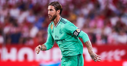 SEVILLE, SPAIN - SEPTEMBER 22: Sergio Ramos of Real Madrid CF at action during the League match between Sevilla FC and Real Madrid at Estadio Ramon Sanchez Pizjuan on September 22, 2019 in Seville, Spain. [Photo by Aitor Alcalde / Getty Images]