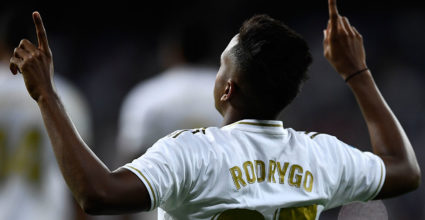 Real Madrid's Brazilian forward Rodrygo celebrates his goal during the Spanish league football match between Real Madrid CF and CA Osasuna at the Santiago Bernabeu stadium in Madrid, on September 25, 2019. (Photo by OSCAR DEL POZO / AFP) (Photo credit should read OSCAR DEL POZO/AFP/Getty Images)